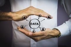 Begrepp för affärsknappdata Arkivfoton