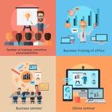Begrepp för affärsonline-seminariumbaner vektor illustrationer