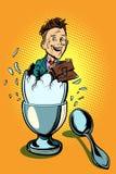 Begrepp för affärsskola affärsmannen som kläckas från ägget, gillar a Arkivbild