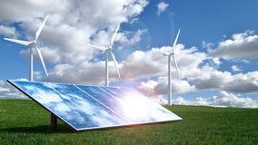 Begrepp för alternativ energi med vindturbiner och solpaneler Arkivbilder
