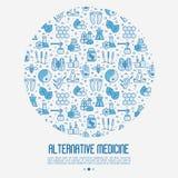 Begrepp för alternativ medicin i cirkel stock illustrationer