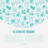 Begrepp för alternativ medicin med den tunna linjen symboler royaltyfri illustrationer