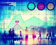 Begrepp för analys för framgång för marknadsföring för finanstillväxtaffär Fotografering för Bildbyråer