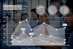 Begrepp för analys för valuta för aktiemarknad för graftillväxtfinans Fotografering för Bildbyråer