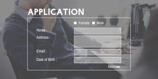 Begrepp för ansökningsblankettonline-Digital Website Arkivbilder