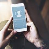Begrepp för anslutning för applikationkontaktkommunikation Royaltyfria Foton