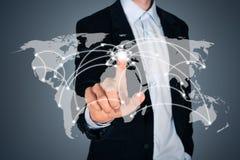 Begrepp för anslutning för global affär Arkivbilder