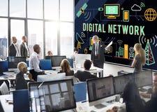 Begrepp för anslutning för teknologi för Digitalt nätverk online- royaltyfria foton