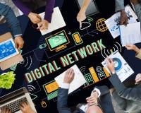 Begrepp för anslutning för teknologi för Digitalt nätverk online- arkivbild