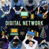 Begrepp för anslutning för teknologi för Digitalt nätverk online- royaltyfria bilder