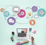 Begrepp för anslutning för kommunikation för internetnätverk royaltyfri fotografi