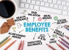 Begrepp för anställdfördelar Datortangentbord, blyertspennor och kaffe Arkivfoto