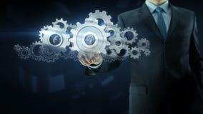 Begrepp för arbete för lag för kugghjul för framgång för affärsman lager videofilmer