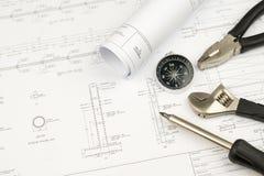 Begrepp för arbete för teknikerkonstruktionsaffär: teknikbluepr royaltyfri bild