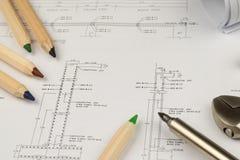 Begrepp för arbete för teknikerkonstruktionsaffär: teknikbluepr royaltyfri foto
