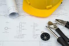 Begrepp för arbete för teknikerkonstruktionsaffär: teknikbluepr royaltyfria bilder