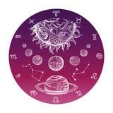 Begrepp för astrologi för färghand utdraget med zodiaktecken och vektorillustrationen för planetariskt system royaltyfri illustrationer