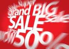 Begrepp för att marknadsföra och e-kommers stor försäljning för bandförsäljning för klar illustration röd vektor för etikett Sale Arkivfoton