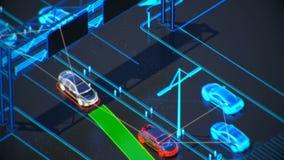 Begrepp för Autonome trans.system, smart stad, internet av saker, medel till medlet, medel till infrastruktur royaltyfri illustrationer