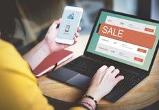 Begrepp för avtal för rabatt för E-kommers Sale varmt pris Royaltyfri Bild