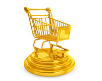 Begrepp för bästa säljare. Guld- shoppingvagn Royaltyfri Fotografi