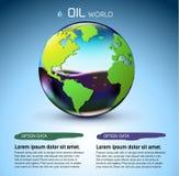 Begrepp för bakgrund för olje- materiel för exponeringsglasvärld vektor Royaltyfria Foton