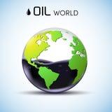 Begrepp för bakgrund för olje- materiel för exponeringsglasvärld vektor Royaltyfri Foto