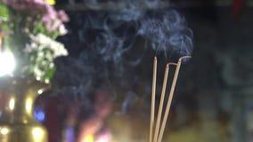 begrepp för bakgrund för tempel för porslin 4K rött för lycklig kinesisk skärmbakgrund för nytt år 2019, oskarp utomhus- buddist lager videofilmer