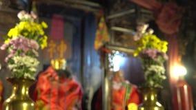 begrepp för bakgrund för tempel för porslin 4K rött för lycklig kinesisk skärmbakgrund för nytt år 2019, oskarp utomhus- buddisti stock video