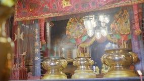 begrepp för bakgrund för tempel för porslin 4K rött för lycklig kinesisk skärmbakgrund för nytt år 2019, oskarp utomhus- buddisti arkivfilmer