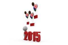begrepp för ballong för lyckligt nytt år för man 3d Royaltyfri Bild