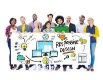 Begrepp för baner för folk för svars- designinternetrengöringsduk online- Arkivfoton