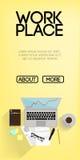 Begrepp för baner för website för kontorsarbetsställe vertikalt Arkivfoto