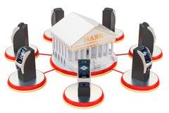 Begrepp för bankrörelseservice, ATM-maskiner runt om banken framförande 3d stock illustrationer