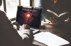 Begrepp för bedrägeri för bedrägeriScam Phishing varning Arkivfoto