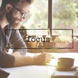 Begrepp för beskickning för koncentrat för fokusplanläggningsmål royaltyfria bilder