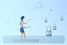 Begrepp för beslut för tillfälle för lås för håll för affärskvinna nyckel- väljande stock illustrationer