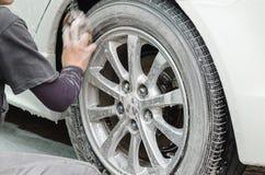 begrepp för bilrenlighetclose som tvättar sig upp royaltyfri bild