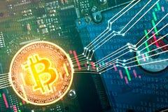 Begrepp för Bitcoin digitalt handelmarknad arkivbild