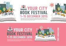 Begrepp för bokfestivalaffisch Royaltyfri Bild