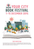 Begrepp för bokfestivalaffisch Royaltyfri Fotografi