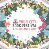 Begrepp för bokfestivalkort Arkivfoton