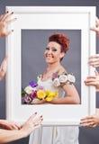 Begrepp för bröllopstudiofotografi Fotografering för Bildbyråer