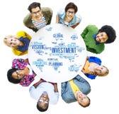 Begrepp för budget för bankrörelsen för vinst för global affär för investering Arkivfoto