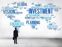 Begrepp för budget för bankrörelsen för vinst för global affär för investering Arkivfoton