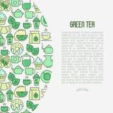 Begrepp för ceremoni för grönt te med den tunna linjen symboler royaltyfri illustrationer