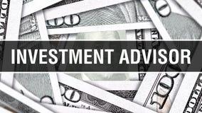 Begrepp för Closeup för investeringrådgivare Amerikanska dollar kontanta pengar, tolkning 3D Investeringrådgivare på dollarsedeln vektor illustrationer