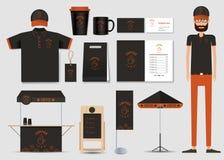 Begrepp för coffee shop- och restaurangidentitetsåtlöje upp mall kaffemärke Arkivbilder
