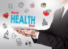 Begrepp för dag för världshälsa Healty livsstilbakgrund Manholdi fotografering för bildbyråer