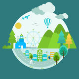 Begrepp för dag för världshälsa med sikt av den stads- staden Royaltyfri Fotografi